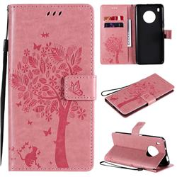 Embossing Butterfly Tree Leather Wallet Case for Huawei Y9a - Pink