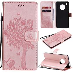 Embossing Butterfly Tree Leather Wallet Case for Huawei Y9a - Rose Pink