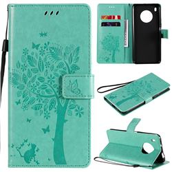 Embossing Butterfly Tree Leather Wallet Case for Huawei Y9a - Cyan
