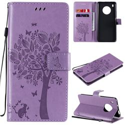 Embossing Butterfly Tree Leather Wallet Case for Huawei Y9a - Violet