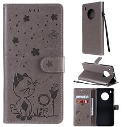 Embossing Bee and Cat Leather Wallet Case for Huawei Y9a - Gray