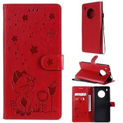 Embossing Bee and Cat Leather Wallet Case for Huawei Y9a - Red