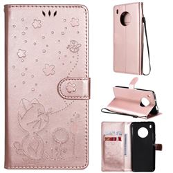 Embossing Bee and Cat Leather Wallet Case for Huawei Y9a - Rose Gold
