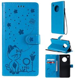 Embossing Bee and Cat Leather Wallet Case for Huawei Y9a - Blue