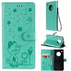 Embossing Bee and Cat Leather Wallet Case for Huawei Y9a - Green