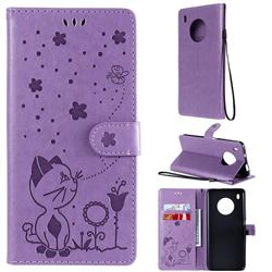 Embossing Bee and Cat Leather Wallet Case for Huawei Y9a - Purple