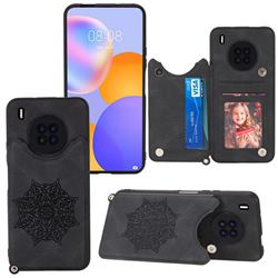 Luxury Mandala Multi-function Magnetic Card Slots Stand Leather Back Cover for Huawei Y9a - Black
