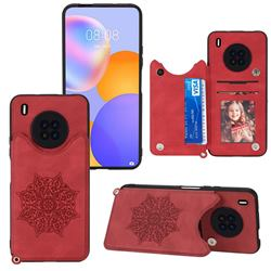 Luxury Mandala Multi-function Magnetic Card Slots Stand Leather Back Cover for Huawei Y9a - Red