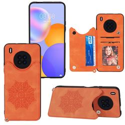 Luxury Mandala Multi-function Magnetic Card Slots Stand Leather Back Cover for Huawei Y9a - Yellow
