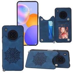Luxury Mandala Multi-function Magnetic Card Slots Stand Leather Back Cover for Huawei Y9a - Blue