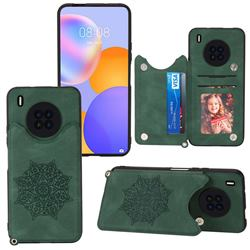 Luxury Mandala Multi-function Magnetic Card Slots Stand Leather Back Cover for Huawei Y9a - Green