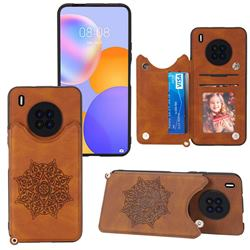 Luxury Mandala Multi-function Magnetic Card Slots Stand Leather Back Cover for Huawei Y9a - Brown
