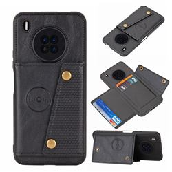 Retro Multifunction Card Slots Stand Leather Coated Phone Back Cover for Huawei Y9a - Black