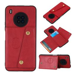Retro Multifunction Card Slots Stand Leather Coated Phone Back Cover for Huawei Y9a - Red