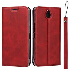 Calf Pattern Magnetic Automatic Suction Leather Wallet Case for Kyocera 705KC - Red