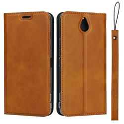 Calf Pattern Magnetic Automatic Suction Leather Wallet Case for Kyocera 705KC - Brown