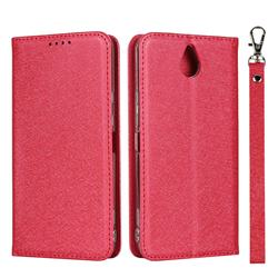 Ultra Slim Magnetic Automatic Suction Silk Lanyard Leather Flip Cover for Kyocera 705KC - Red