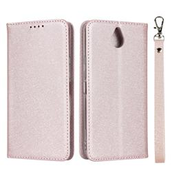 Ultra Slim Magnetic Automatic Suction Silk Lanyard Leather Flip Cover for Kyocera 705KC - Rose Gold