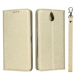 Ultra Slim Magnetic Automatic Suction Silk Lanyard Leather Flip Cover for Kyocera 705KC - Golden