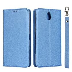 Ultra Slim Magnetic Automatic Suction Silk Lanyard Leather Flip Cover for Kyocera 705KC - Sky Blue