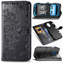 Embossing Imprint Mandala Flower Leather Wallet Case for Kyocera Torque G04 - Black