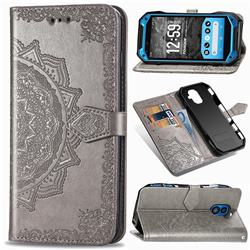 Embossing Imprint Mandala Flower Leather Wallet Case for Kyocera Torque G04 - Gray
