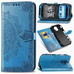 Embossing Imprint Mandala Flower Leather Wallet Case for Kyocera Torque G04 - Blue