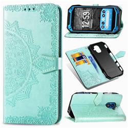 Embossing Imprint Mandala Flower Leather Wallet Case for Kyocera Torque G04 - Green