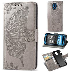 Embossing Mandala Flower Butterfly Leather Wallet Case for Kyocera Torque G04 - Gray
