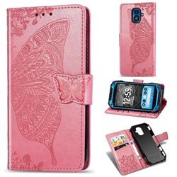 Embossing Mandala Flower Butterfly Leather Wallet Case for Kyocera Torque G04 - Pink