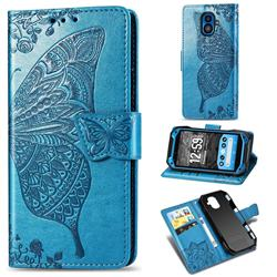 Embossing Mandala Flower Butterfly Leather Wallet Case for Kyocera Torque G04 - Blue