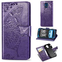 Embossing Mandala Flower Butterfly Leather Wallet Case for Kyocera Torque G04 - Dark Purple