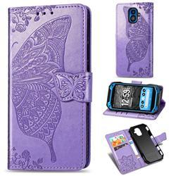 Embossing Mandala Flower Butterfly Leather Wallet Case for Kyocera Torque G04 - Light Purple