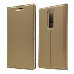 Ultra Slim Card Magnetic Automatic Suction Leather Wallet Case for Kyocera Urbano V04 - Champagne