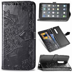 Embossing Imprint Mandala Flower Leather Wallet Case for Kyocera Urbano V04 - Black