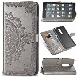Embossing Imprint Mandala Flower Leather Wallet Case for Kyocera Urbano V04 - Gray