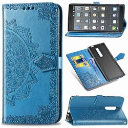 Embossing Imprint Mandala Flower Leather Wallet Case for Kyocera Urbano V04 - Blue
