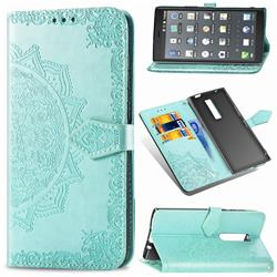 Embossing Imprint Mandala Flower Leather Wallet Case for Kyocera Urbano V04 - Green