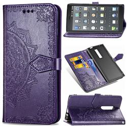Embossing Imprint Mandala Flower Leather Wallet Case for Kyocera Urbano V04 - Purple