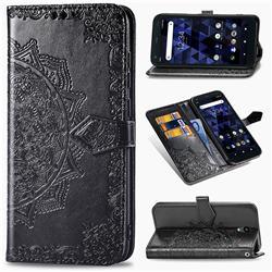 Embossing Imprint Mandala Flower Leather Wallet Case for Kyocera Digno BX - Black