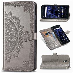 Embossing Imprint Mandala Flower Leather Wallet Case for Kyocera Digno BX - Gray