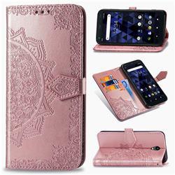 Embossing Imprint Mandala Flower Leather Wallet Case for Kyocera Digno BX - Rose Gold