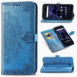 Embossing Imprint Mandala Flower Leather Wallet Case for Kyocera Digno BX - Blue