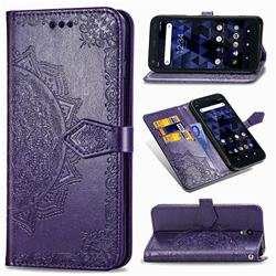 Embossing Imprint Mandala Flower Leather Wallet Case for Kyocera Digno BX - Purple
