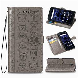 Embossing Dog Paw Kitten and Puppy Leather Wallet Case for Kyocera Digno BX - Gray