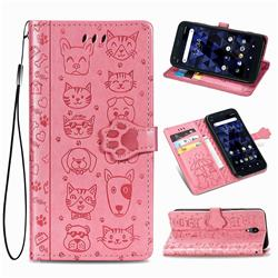 Embossing Dog Paw Kitten and Puppy Leather Wallet Case for Kyocera Digno BX - Pink