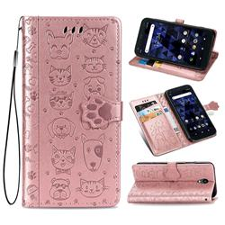 Embossing Dog Paw Kitten and Puppy Leather Wallet Case for Kyocera Digno BX - Rose Gold