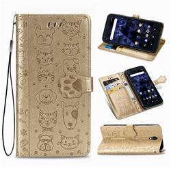 Embossing Dog Paw Kitten and Puppy Leather Wallet Case for Kyocera Digno BX - Champagne Gold