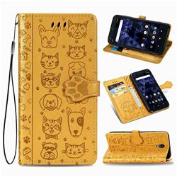 Embossing Dog Paw Kitten and Puppy Leather Wallet Case for Kyocera Digno BX - Yellow