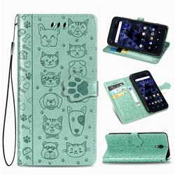 Embossing Dog Paw Kitten and Puppy Leather Wallet Case for Kyocera Digno BX - Green